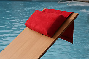 Deck chair cushion with removable Nubuk